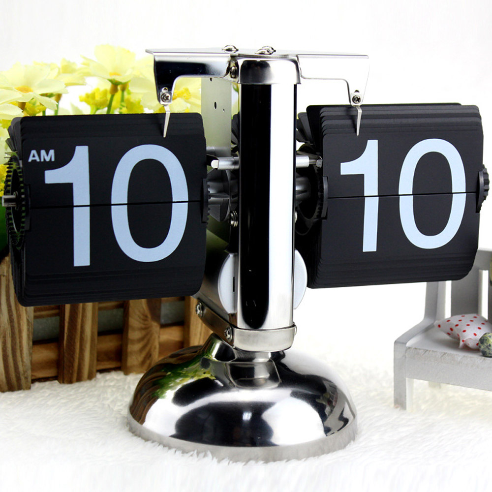 Small Scale Table Clock Retro Flip Over Clock Stainless Steel Flip Internal Gear Operated Quartz Clock Black/White