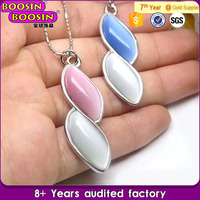 Hot sale tear drop pink stone jewelry necklace for women