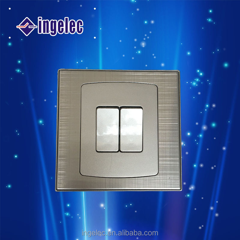 Luxury Metal Two Gang One Way Wall Switch.Electrical Wall Switch for Home