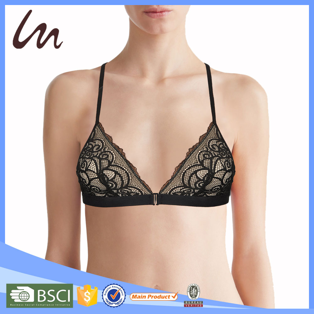 Ladies Hot Sex Nice Bra and Panty Mesh High-Neck Bralette Sexy Transparent Women Bra
