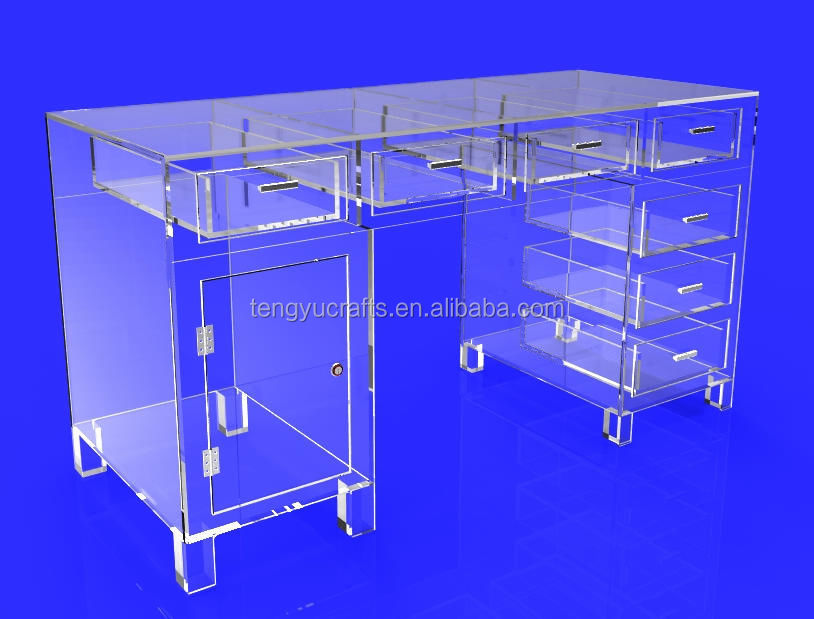High quality lucid plexiglass file drawer acrylic desk top bread box display perspex removable holder