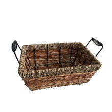 new design small natural banana seginger leaf woven basket with metal tag