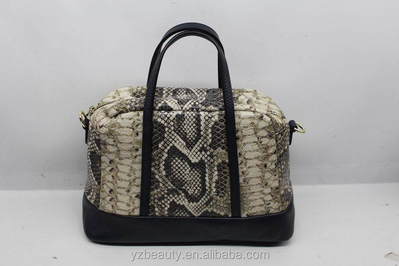 Hot sale new design snake skin leather pu handbag for women in china