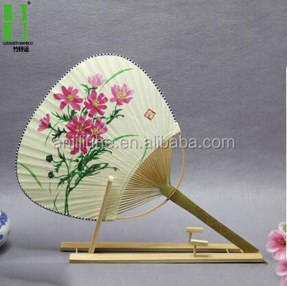 Paper promotion bamboo paddle hand fan