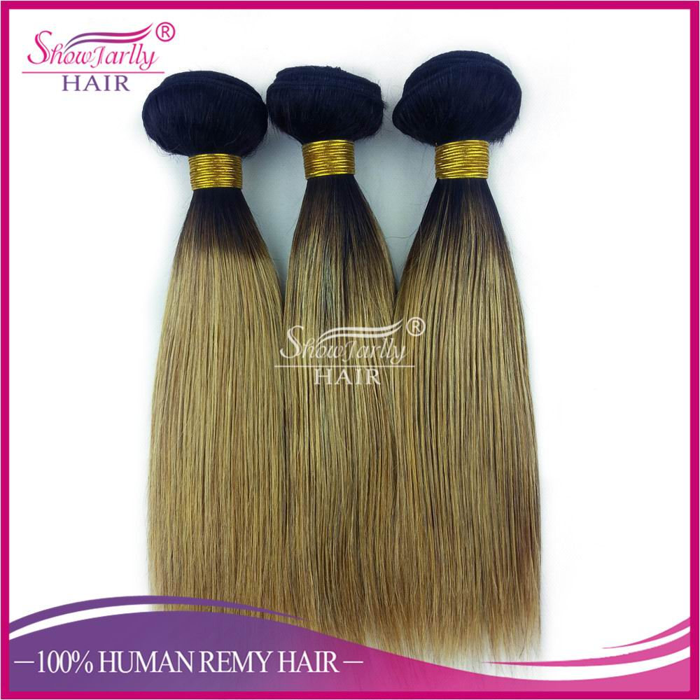 Fashion wholesale two tone brazilian hair weft indian hair weave straight 1b#27 100% human ombre braiding hair