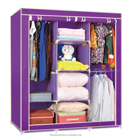 walmart portable non woven cloth cheap metal closet wardrobe closet with sliding doors