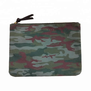 Custom Printed Camouflage 16OZ Canvas Cosmetic Pouch Make up Bag