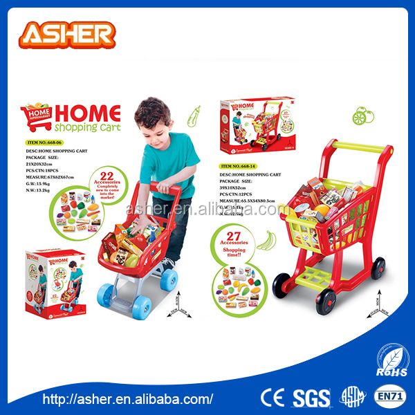 2016 Popular and lovely baby pretend play supermarket shopping cart set shopping cart toy