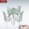 Foshan Modern Square Outdoor Furniture Garden Dining Table Set with 4 Cane Chairs