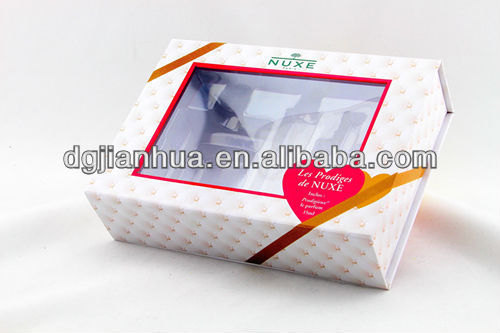 Fine recycle red ribbon paper packaging box for hair extension