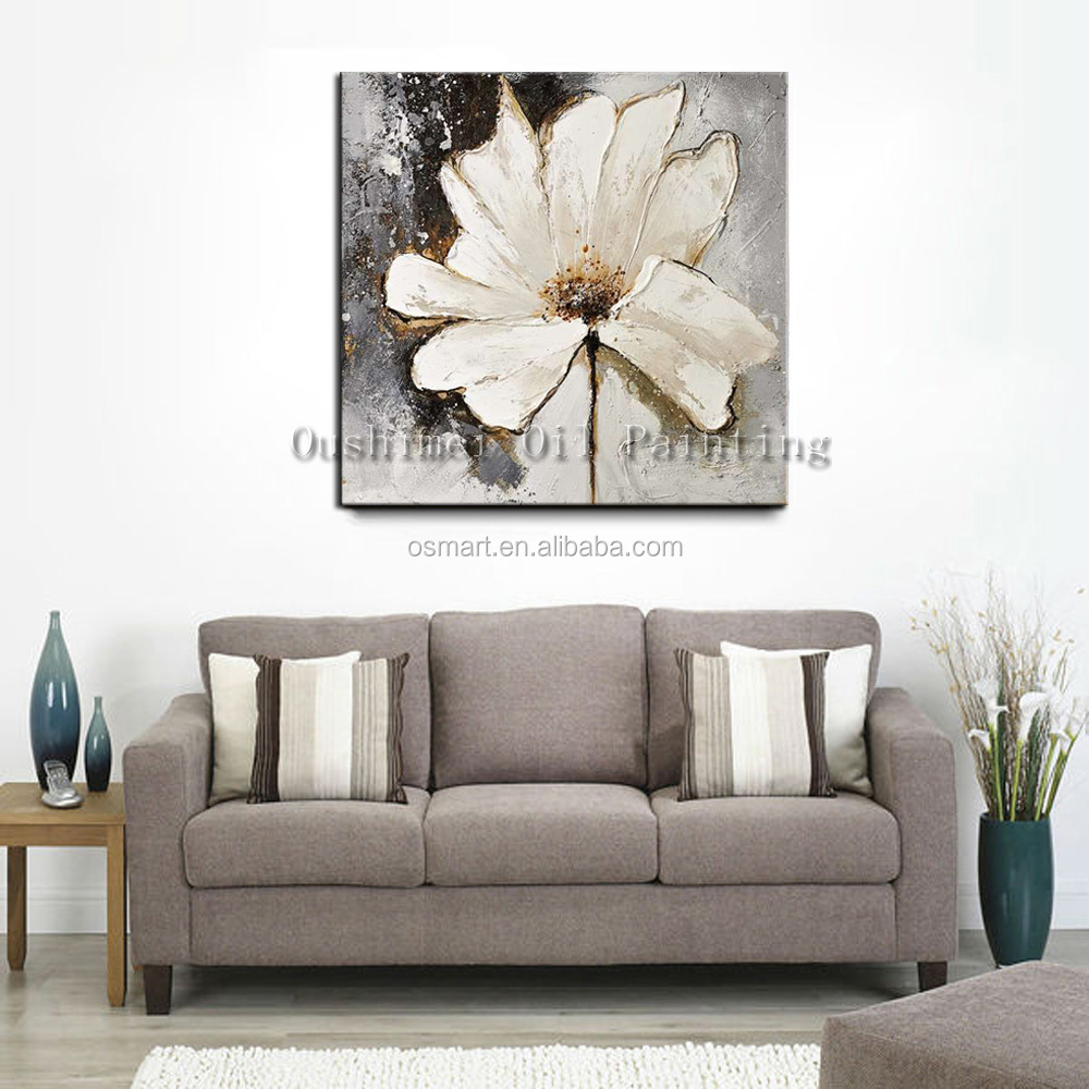 Free Shipping High Quality Artist Hand-painted White Flower Oil Painting on Canvas Modern Abstract Flower Oil Painting