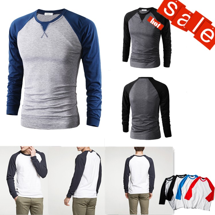 High Quality Long sleeve T shirt for Sport Raglan Two Tone T-shirt