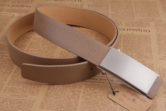Hot Sell Flat Buckle Fashion Design Khaki Genuine Leather Belt For Men
