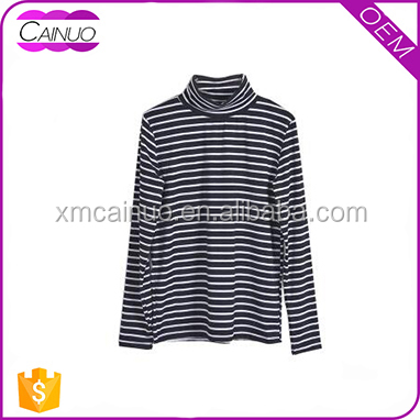 Women oversized blue and white cotton plain two color long sleeve stripe t-shirt