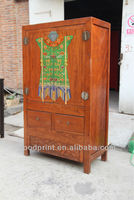 Hand Carved Antique Breakfront Wardrobe Wood Cabinet