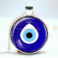 Evil Eye Pendant, Evil Eye Necklace, Evil Eye heart Necklace Glass Photo Cabochon Necklace