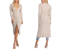 2019 New trending Long Sleeves Knitted Dresses Front Button Women V neck Sweater Dress