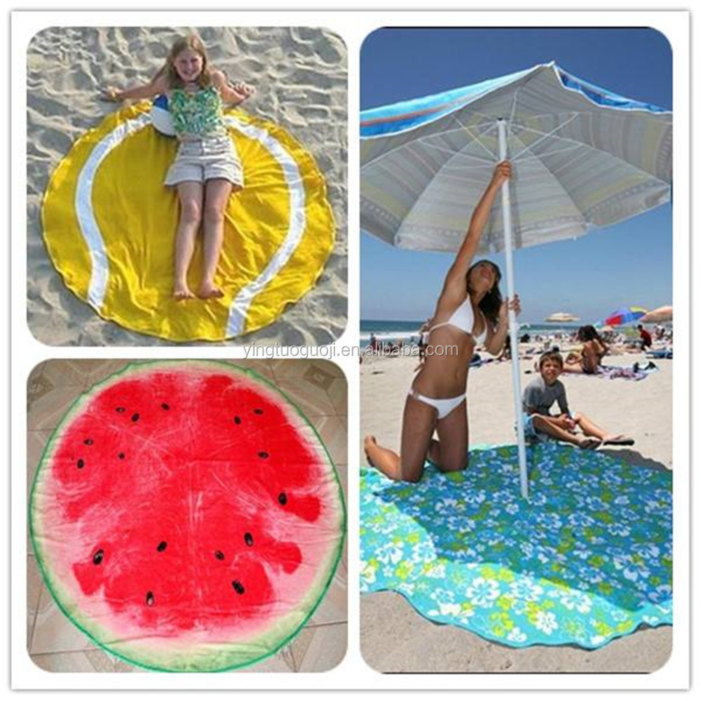 China wholesale custom printed round microfiber towel beach