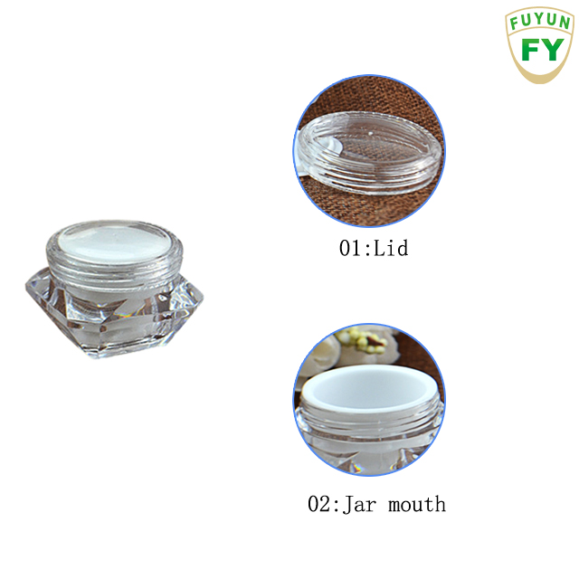 Fuyun crystal acrylic double wall plastic container jar