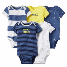 5-pack short-sleeve bodysuit baby pajamas plain baby clothes