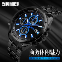 new quartz IP black plating stainless steel watch with indepent stopwathc dial 3 atm water resistant watch