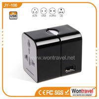 Wontravel New Generation USB universal patent travel plug& mini electrical universal travel charger with 2.1A usb