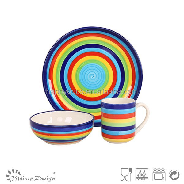 12pcs Hand made rainbow latest dinner set with popular design