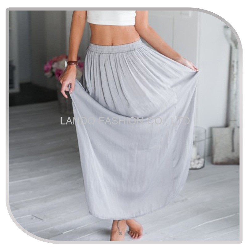 New style casual simple design women's chiffon long lady skirt