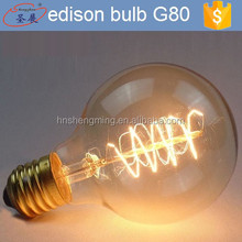 Classic retro style edison lighting bulb manufacturers decorative carbon filament lamp 25/40/60w vintage bulbs G80
