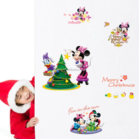 cartoon kids room decor Mickey Mouse wall stickers baby decorative Minnie mickey wall decals merry christmas wall stickers