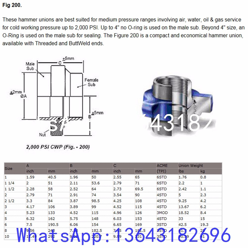 China s hammer union of rotary drilling hose high quality
