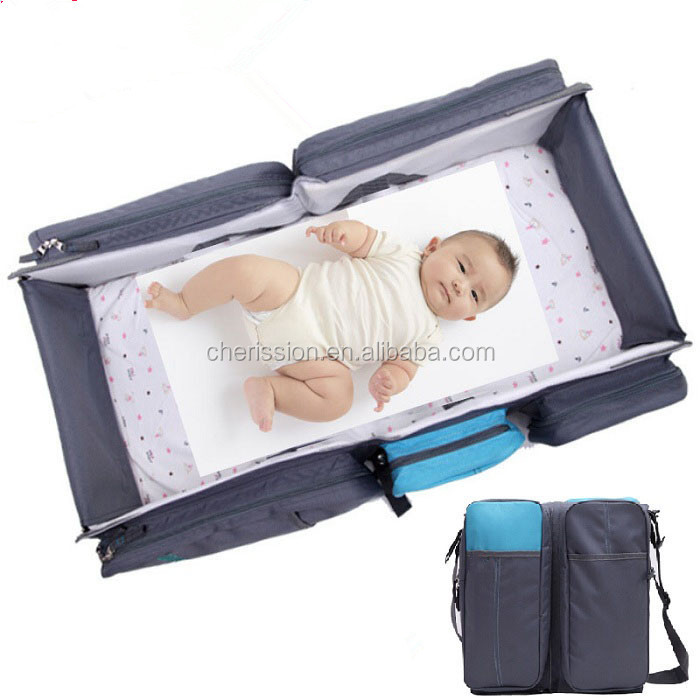 Foldable baby diaper bag travel cot bag