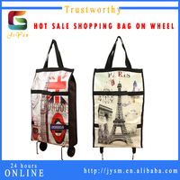 UAE Hot Sale Fashionable Printed Eiffel Tower Pu Leather Computer Vintage Trolley Bag Customize High Quality Travel Luggage Bag