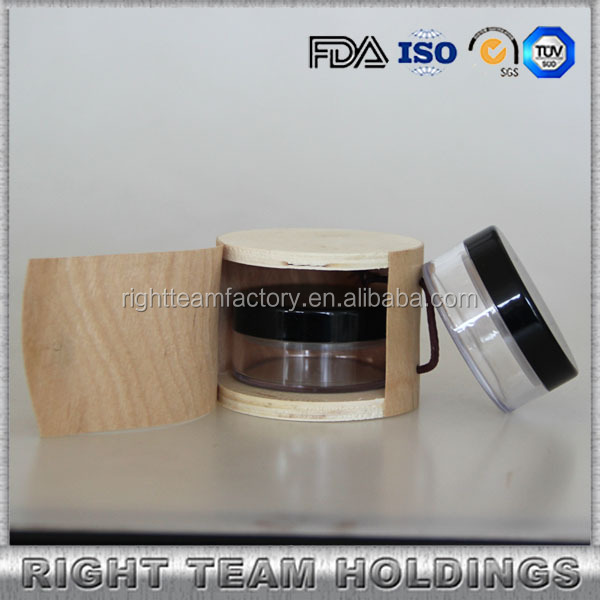 package printed custom wooden box for 30g loose powder cosmetic jar with matte black lid
