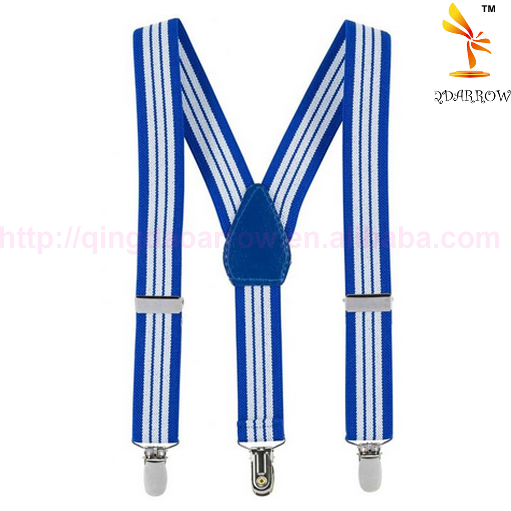 Kids and Baby Cute Navy White Stripe Elastic Suspenders Y Back Adjustable Solid Color with Metal Clip on Clasp