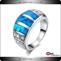 Tanzanite Blue Fire Opal Diamond Rings Newest Silver light blue opal rings