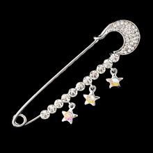 Fashion Rhinestones Pin Brooches Star Large Pins Brooch for Women Dress Rose Silver Plating Crystals Elegant Brooches Jewelry