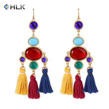 New Arrivals 2018 Fashion Designs alli baba com Jhumka Pom Pom Jewelry Beaded Wholesale Silk Cotton Tassel Earrings for Women