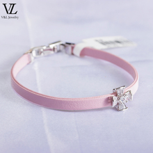 Latest simple design leather bangle zirconia fashion wholesale jewelry