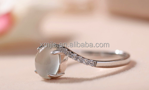 High-tech opal silver ring for girls