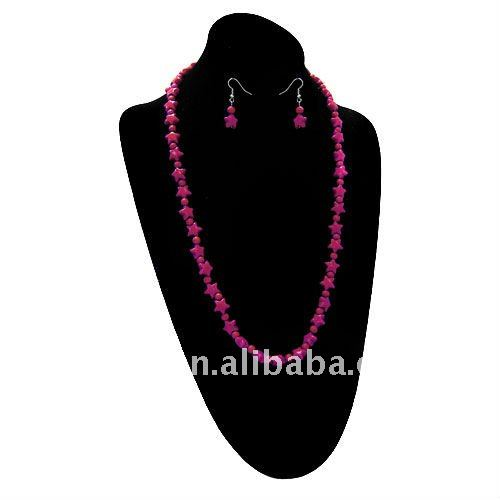 fashion cheap red acrylic beads and star necklaces and earring jewelry set.one dollar beads jewellery set for promotional girt