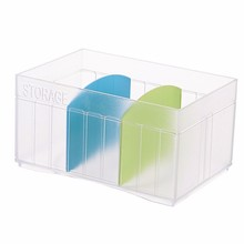 High quality customized logo printing ps clear ps plastic storage box divided