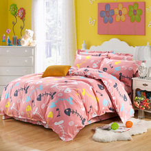 China manufacturer cheap quality polyester fabric for 4 pcs pink printed fish bone bedding sets twin teen girls