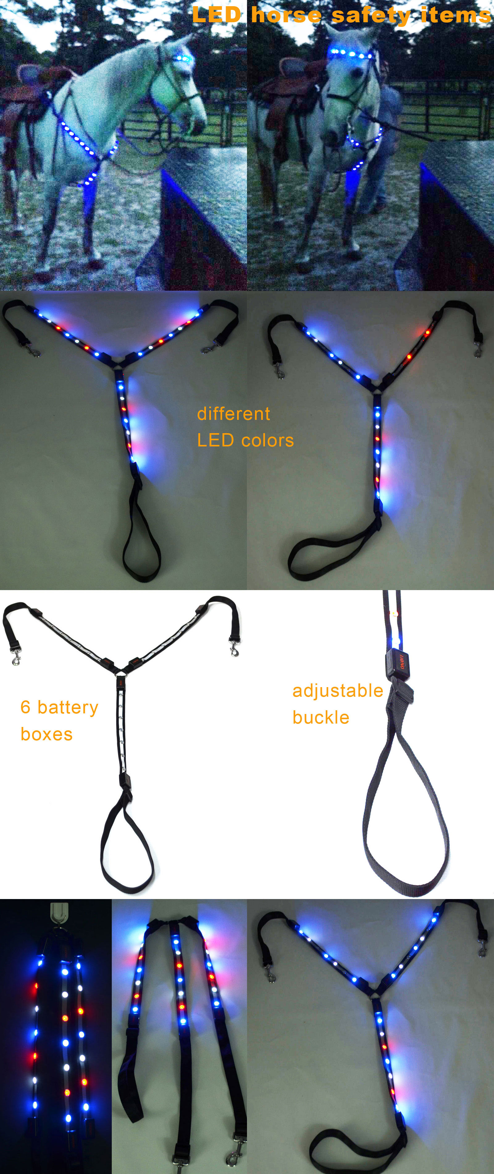 New Christmas Decoration Battery Customized Webbing Racing Flashing Led Light Chest Driving Horse Harness