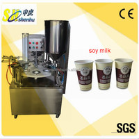 Hot sale rotary soy milk mini cup filling sealing machine with GMP standard