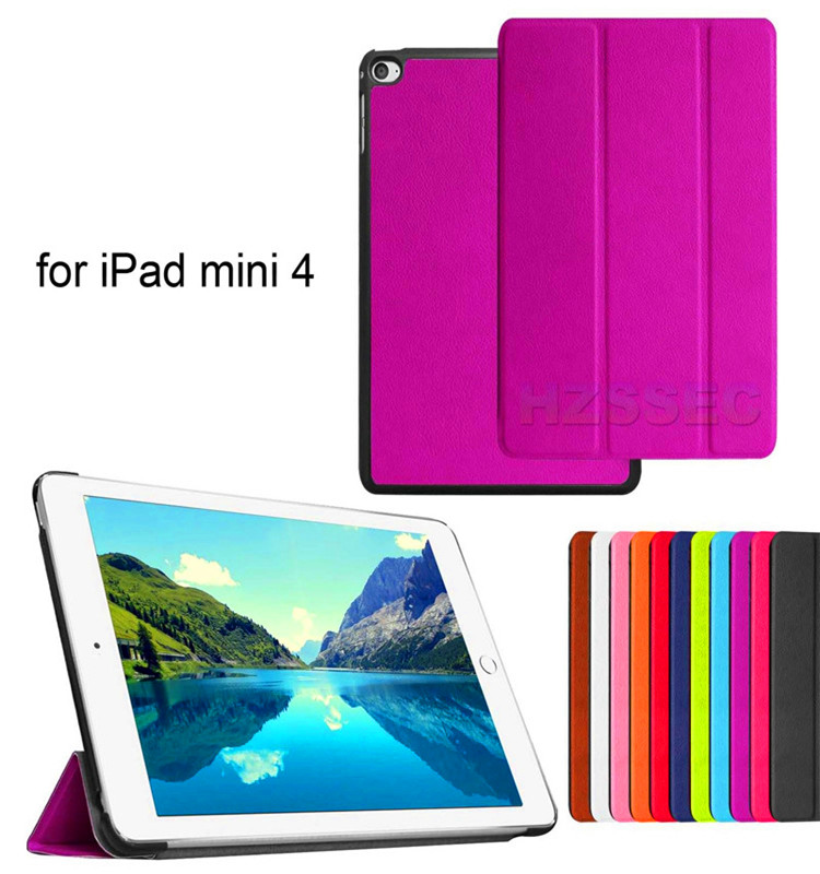 Kids proof rugged leather tablet stand cover smart tablet case for iPad Mini 4