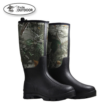 Men's Waterproof Camo Neoprene Hunting Rubber Boots for Hunters