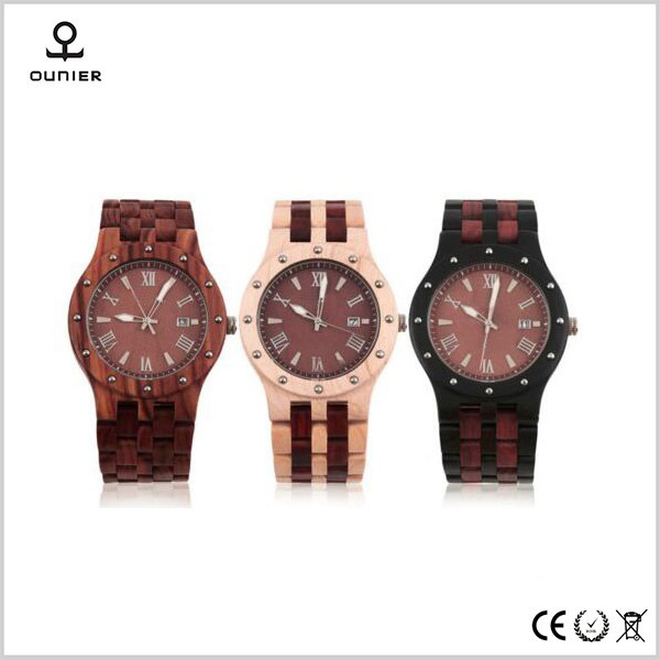 Retro fashion quartz watch men watch belt calendar ebony gear wooden watch is red