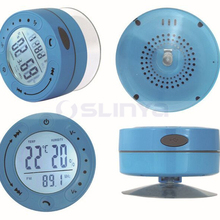 High-End Touch Screen LCD Speakers Waterproof Wireless Sucker Shower FM Speaker With Clock Temperature Humidity Display