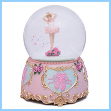 Polyresin Adorable Young Ballerina Snow Globe in Sweet Pink Attire